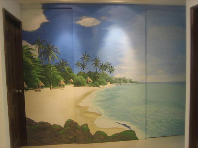 欧式隐形门壁画