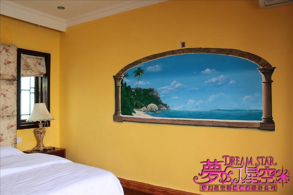 广州茂名放鸡岛海上育乐世界幸福别墅-海边窗景墙壁彩绘