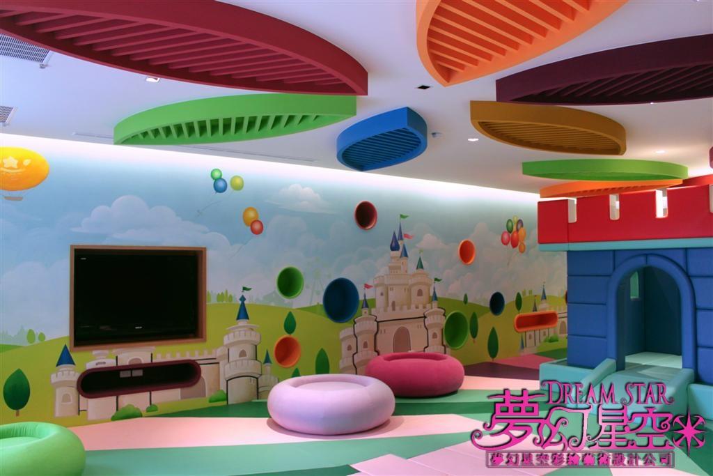 株洲手绘墙,株; 商业墙绘; 亲子园儿童游乐区整体手绘效果-美美手绘墙