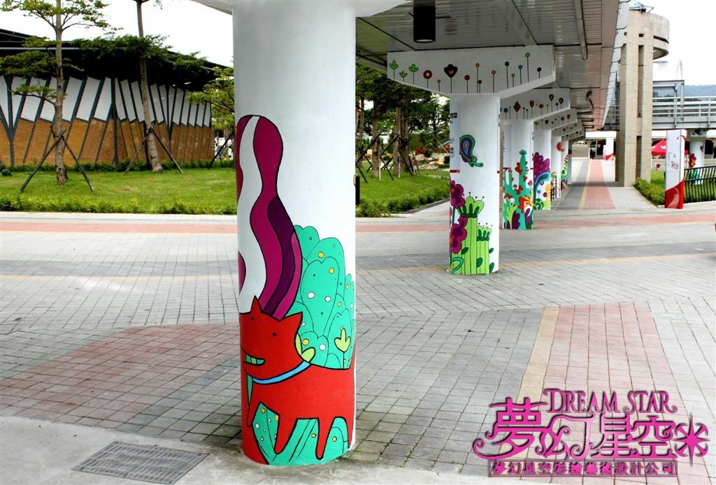手绘墙柱子; 柱子手绘图案,圆柱手绘美化环境和谐自然; 湖南甜甜手绘